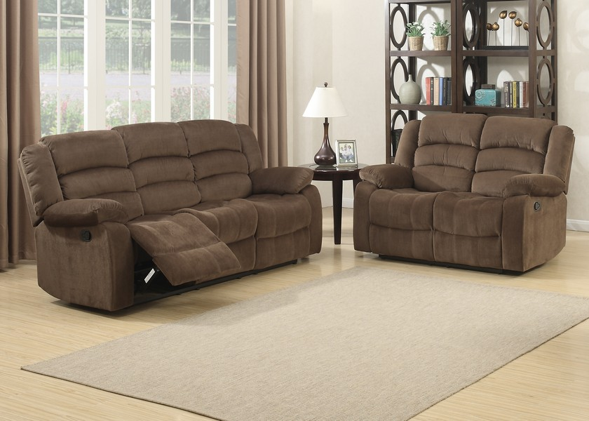Brown 2 Piece Contemporary Polyester Reclining Living Room Set