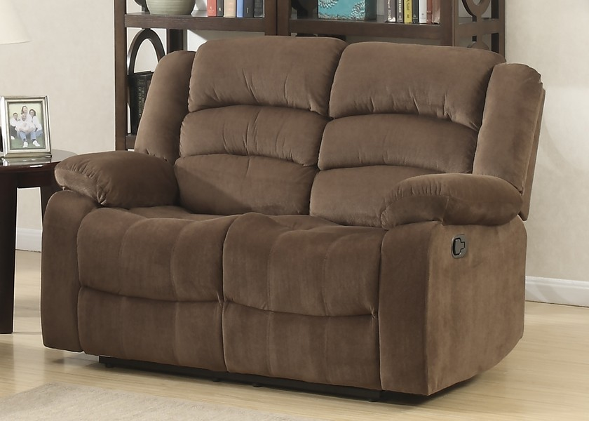 Brown Contemporary Living Room Reclining Love Seat With Polyester Fabric Cover
