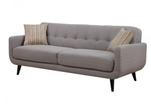 Gray Mid-Century Polyester Fabric Sofa