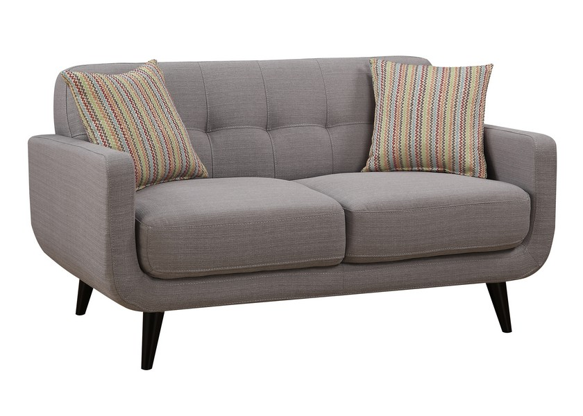 Gray Mid-Century Polyester Fabric Love Seat