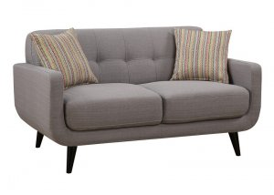 Gray Mid-Century Polyester Fabric Love Seat
