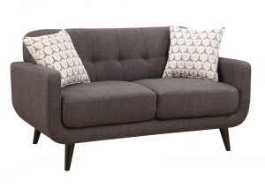 Charcoal Mid-Century Polyester Fabric Love Seat