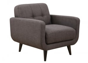 Charcoal Mid-Century Polyester Fabric Arm Chair