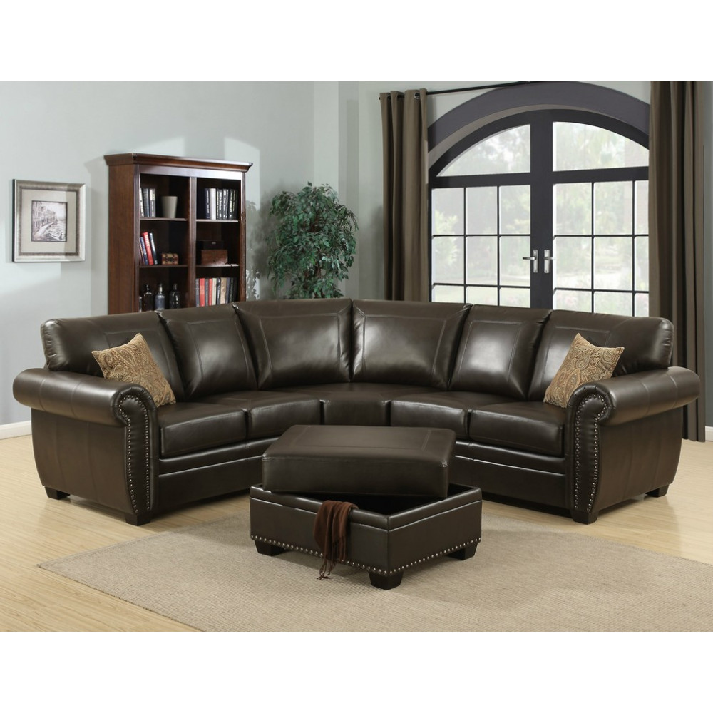 Brown 3 Piece Traditional Leather Living Room Sectional