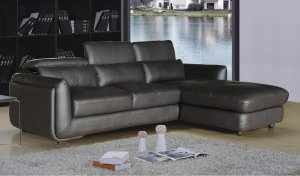 Brown 2 Piece Leather Living Room Sectional