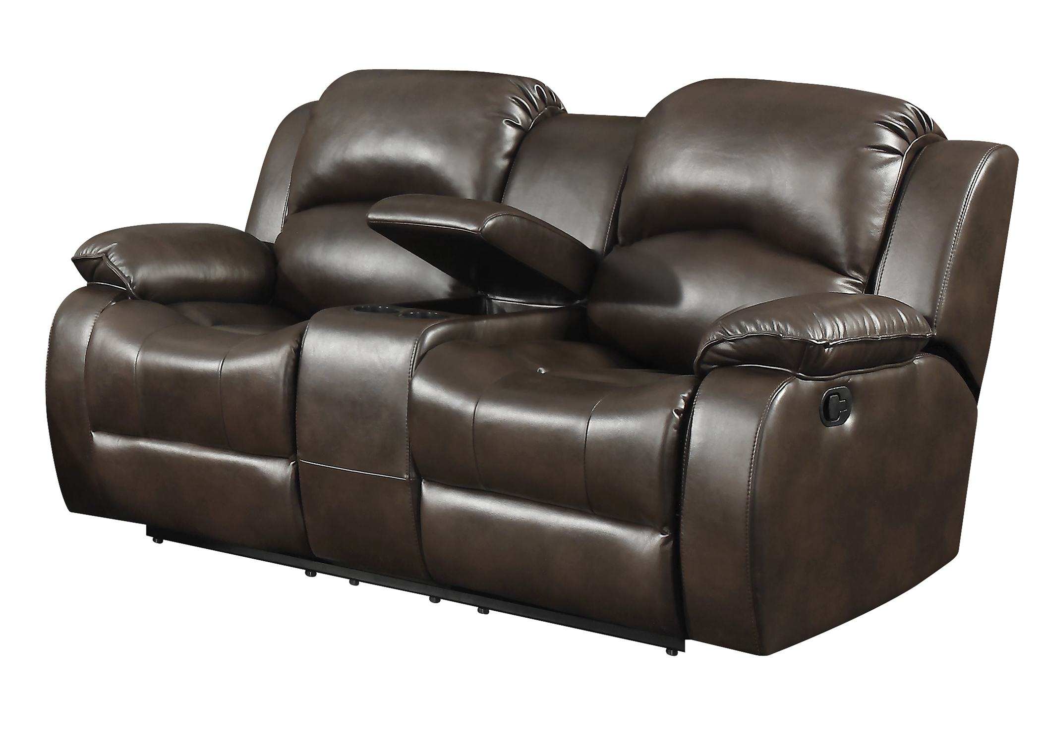 Dark Brown Leather Gel Reclining Loveseat with Storage Console and Cup Holders