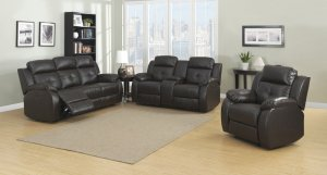 Espresso Power 3pc  Transitional Leather Reclining Living Room Set