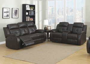 Espresso Power 2pc Transitional Leather Reclining Living Room Set