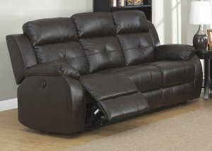 Espresso Transitional Power Reclining Leather Sofa