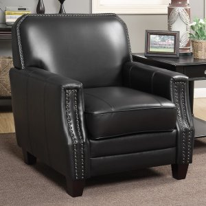 Black Full Grain Leather Club Arm Chair