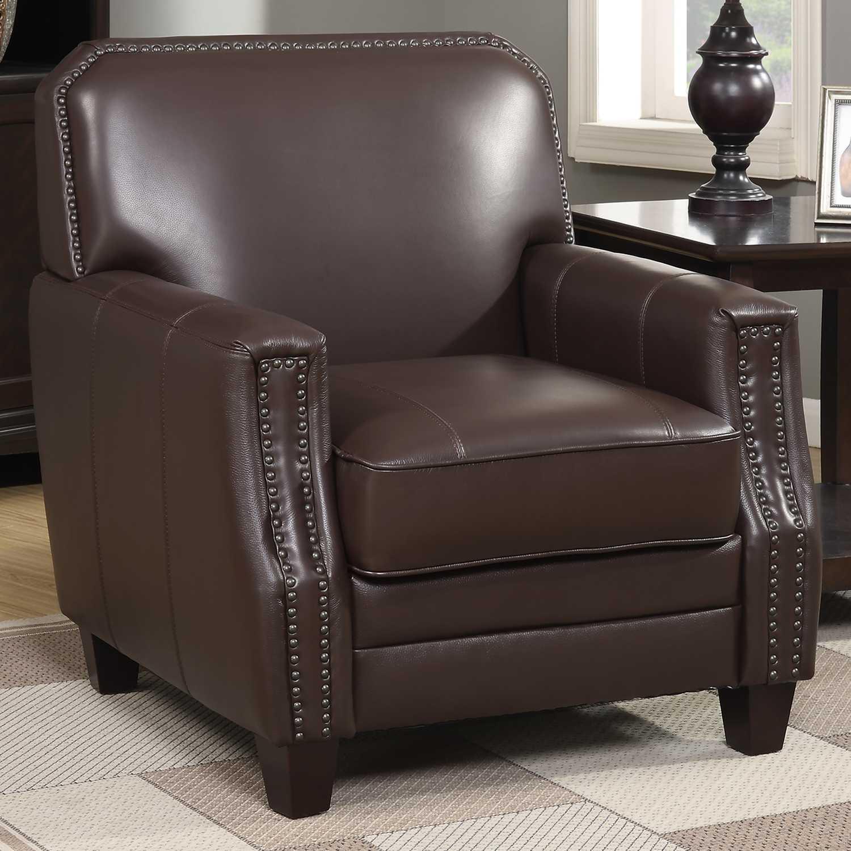 Brown Full Grain Leather Club Arm Chair