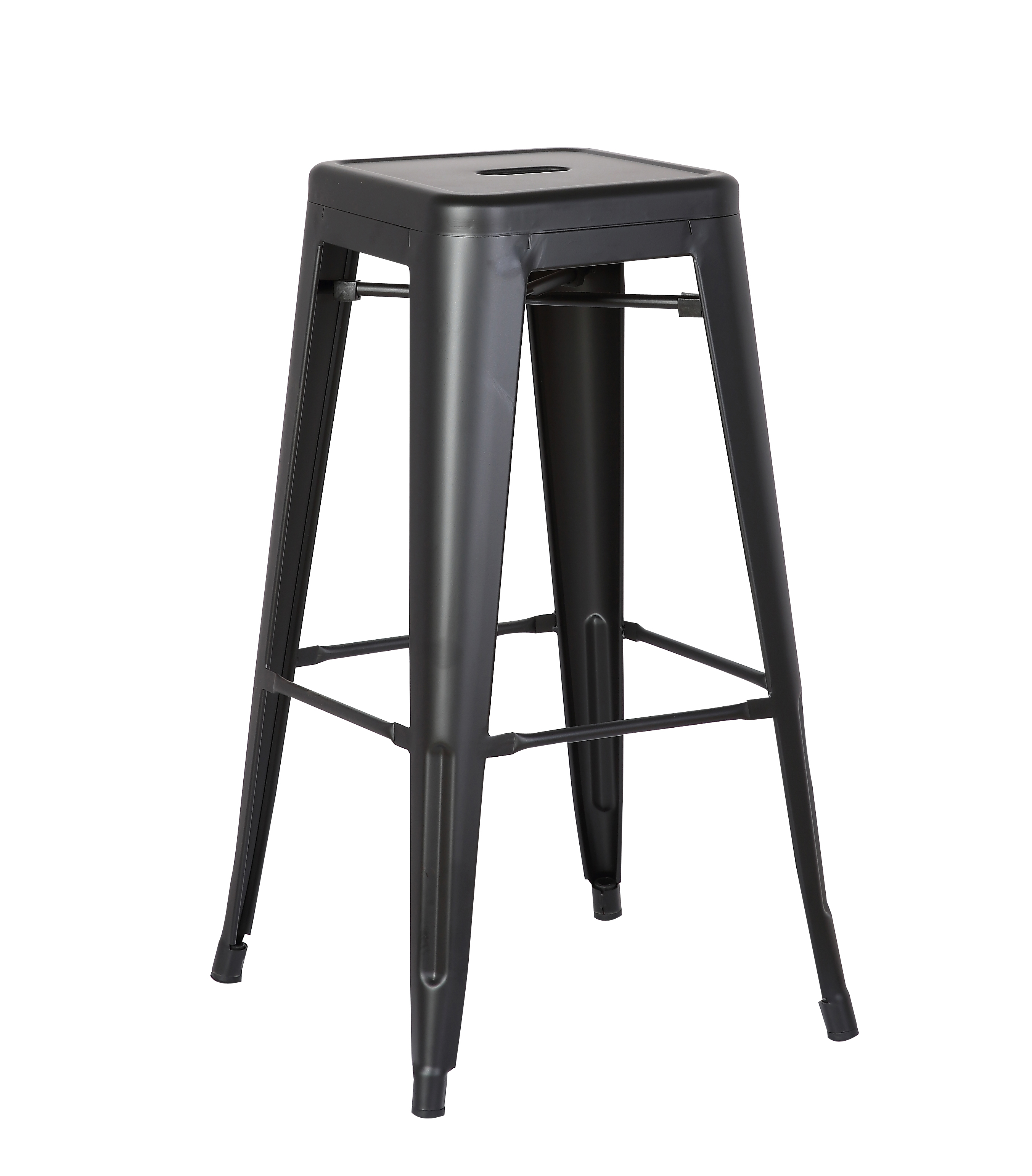 "30"" Matte Black Backless Metal Barstool With a Set of 2"