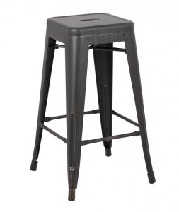 """30"""" Distressed Black Backless Metal Barstool With a Set of 2"""