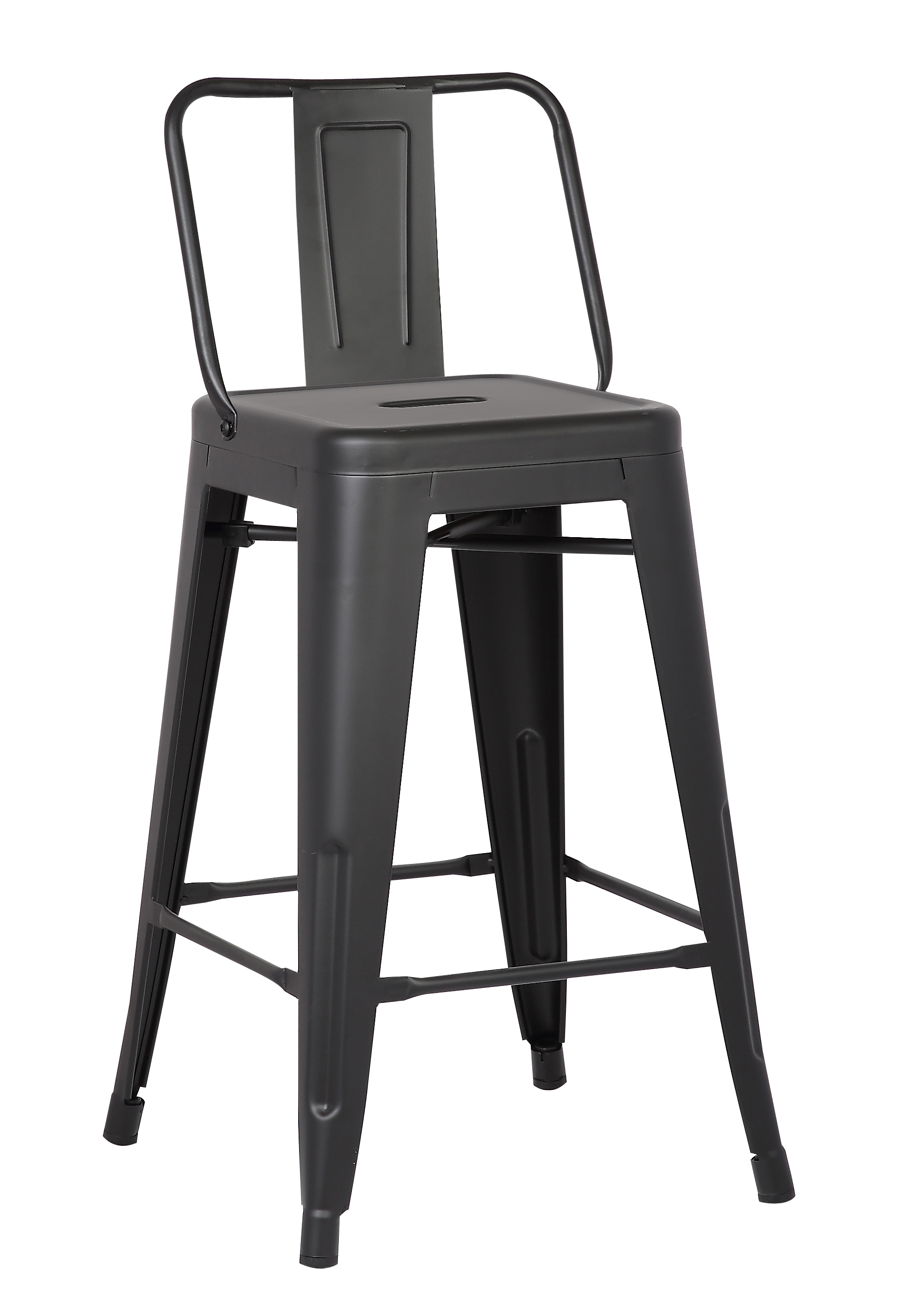 "24"" Matte Black Metal Barstool with Back In A Set of 2"
