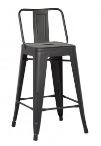 """24"""" Matte Black Metal Barstool with Back In A Set of 2"""