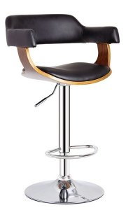 Black Contemporary Swivel Adjustable Barstool with Padded Armrests