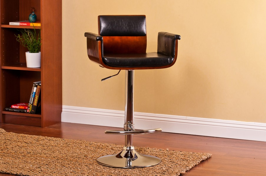Black Modern Padded Wood Back Swivel Adjustable  Bar with Armrests and Cushion