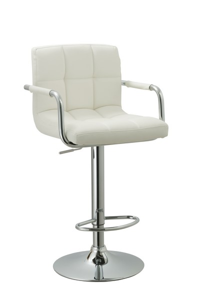 White Contemporary Swivel Adjustable Arm Bar Stool with Cushion