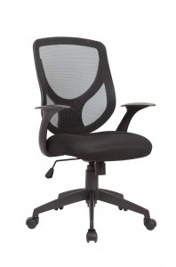 Black Pu Swivel Adjustable Office Chair With Mesh Seat And Back