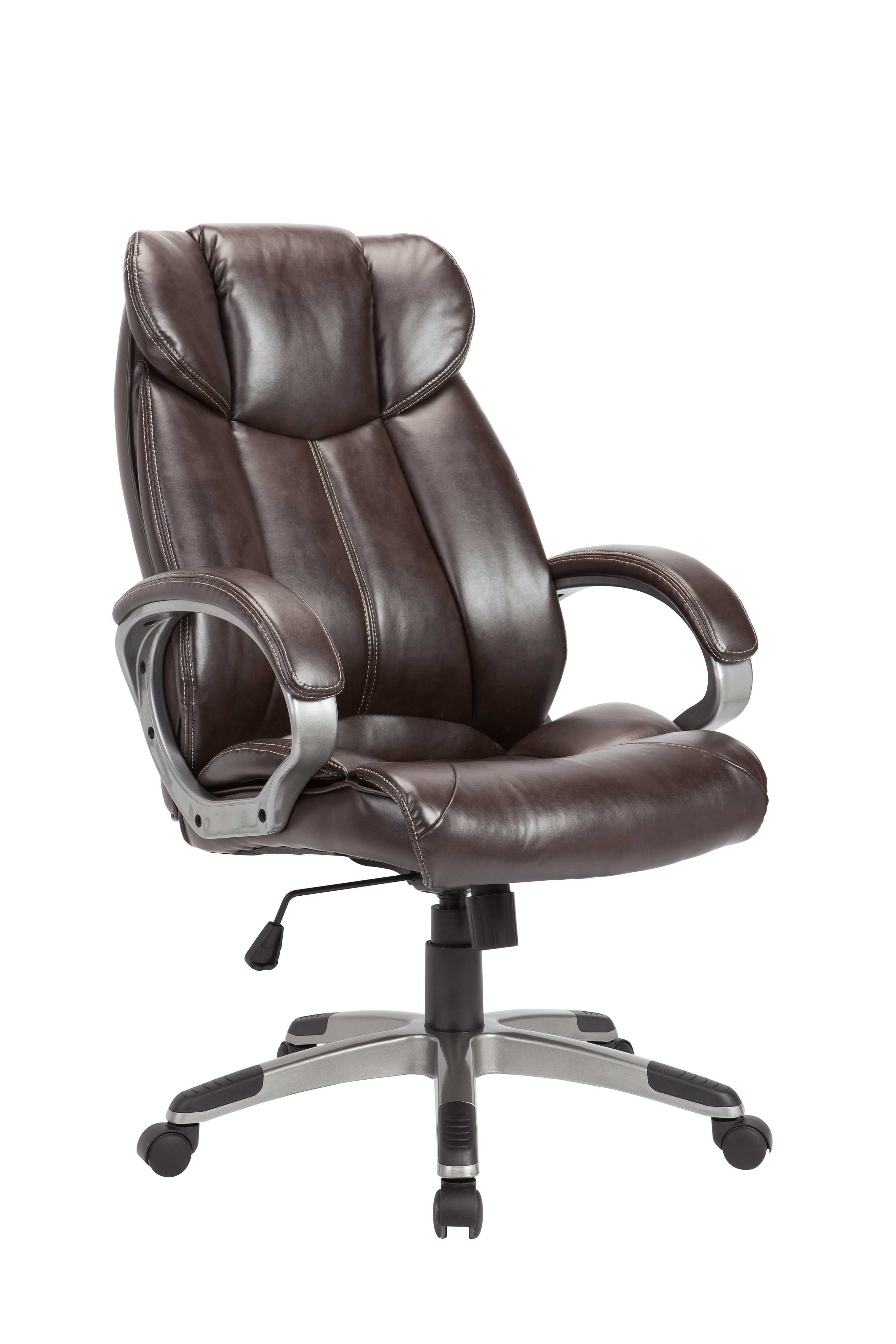 Brown Pu Swivel Adjustable Powder Coated Office Chair