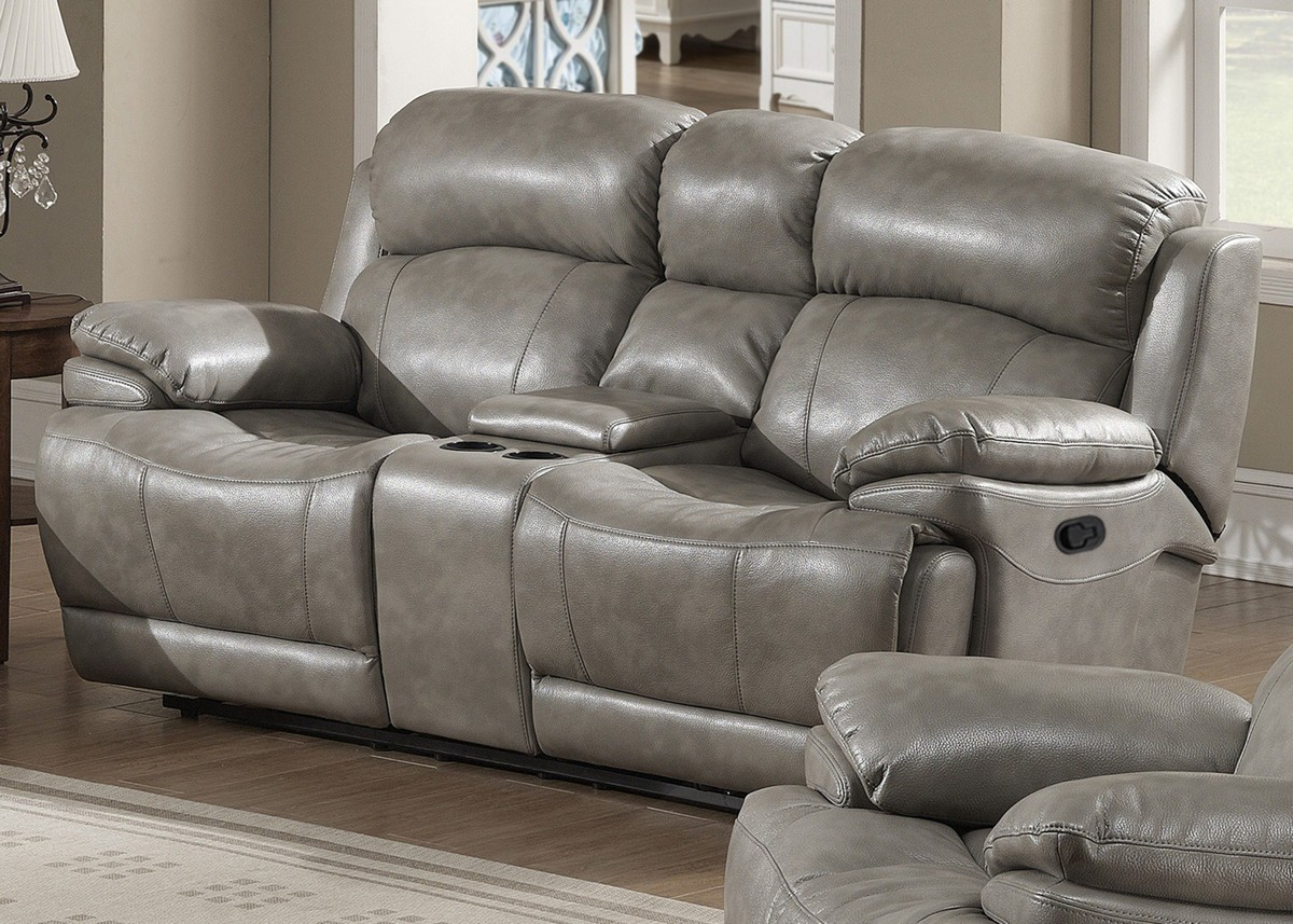 Gray Leather-Like Fabric Reclining Loveseat With Storage Console
