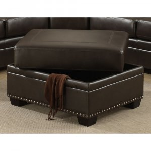 Brown Traditional  Leather-Like Fabric Storage Ottoman