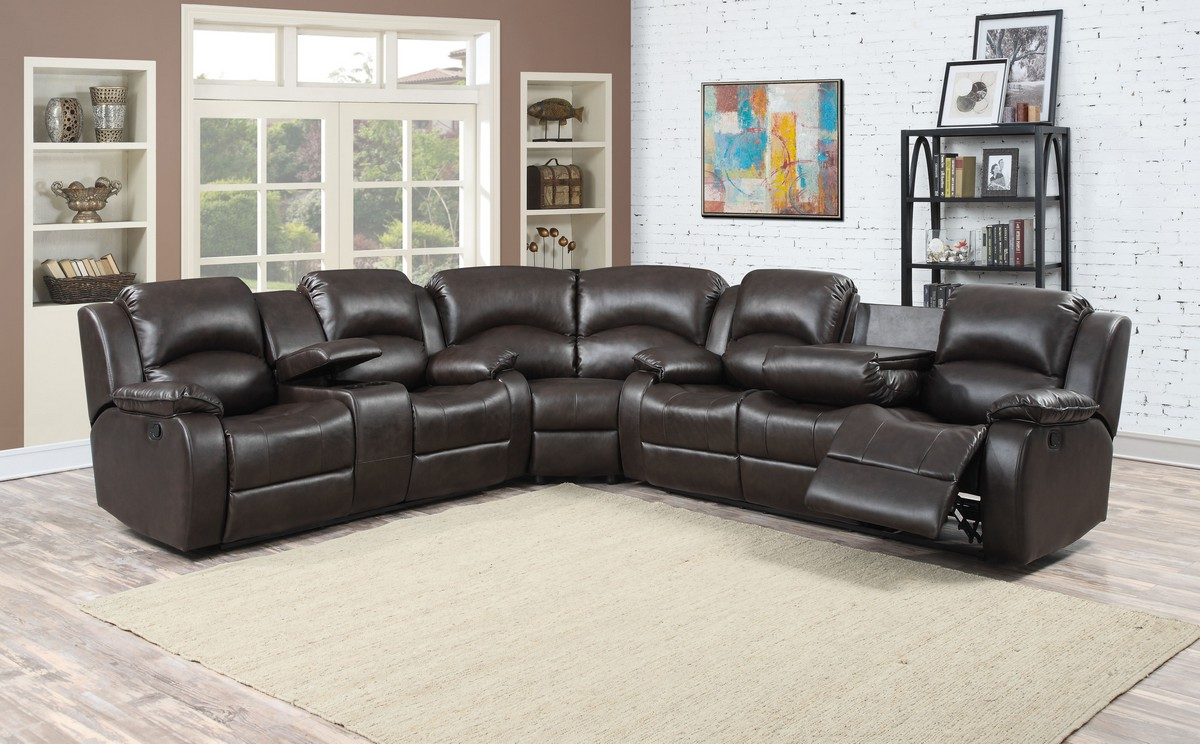 Dark Brown 3pc Leather Gel Sectional With 4 Recliners and storage Console