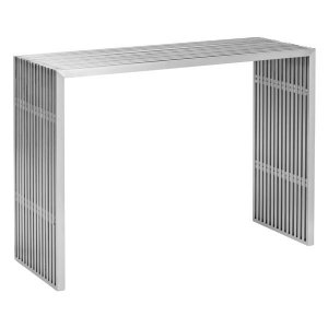 "42.8"" X 15.5"" X 31.8"" Brushed Stainless Steel Console Table"