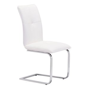 """17"""" X 23.4"""" X 37"""" 2 Pcs White Leatherette Chromed Steel Dining Chair"""