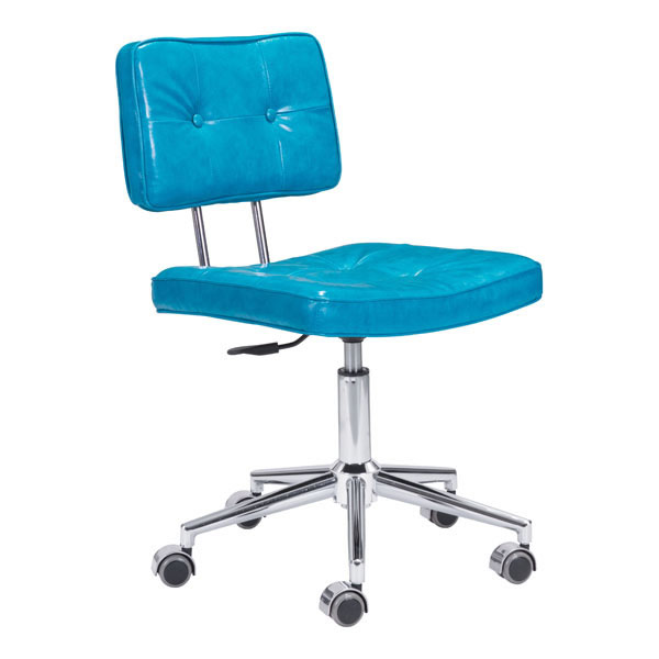 """22.4"""" X 22.4"""" X 35.8"""" Blue Leatherette Office Chair"""