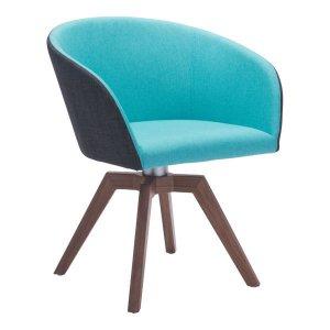 "24.4"" X 23"" X 30.7"" 2 Pcs Blue/Gray Polyester Dining Chair"