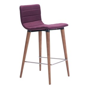 "16"" X 18.9"" X 34.3"" 2 Pcs Purple Polyblend Counter Chair"