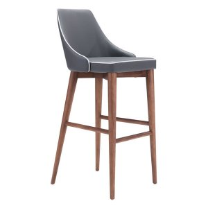 "18"" X 19.7"" X 40.9"" Dark Gray Leatherette Powder Coated Metal Bar Chair"