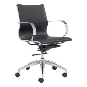 "27.6"" X 27.6"" X 36"" Black Leatherette Low Back Office Chair"