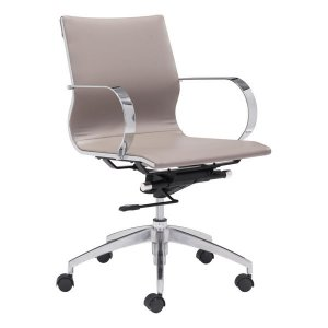 "27.6"" X 27.6"" X 36"" Taupe Leatherette Low Back Office Chair"