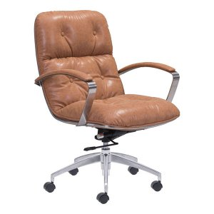 """27.6"""" X 27.6"""" X 41"""" Coffee Vintage Leatherette Office Chair"""