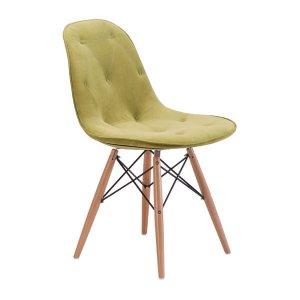 "18.7"" X 21.7"" X 31.9"" Green Velour Polyblend Wood Dining Chair"
