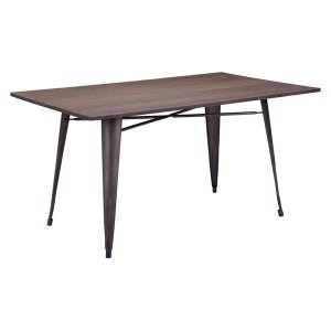 Dining Table Rustic Wood - Bamboo Steel