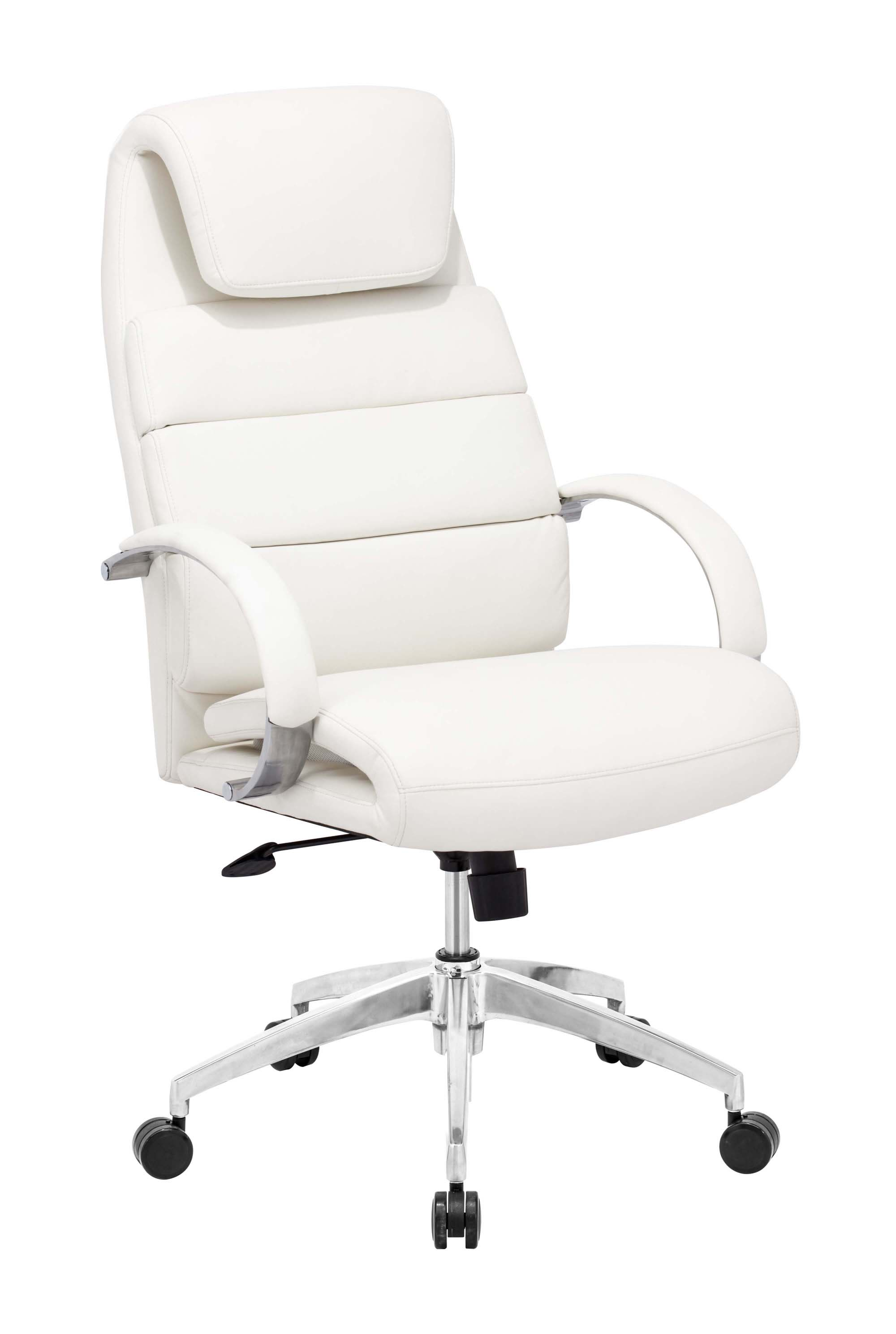 """27.5"""" x 27.5"""" x 44.5"""" White, Leatherette, Polished Aluminum, Comfort Office Chair"""
