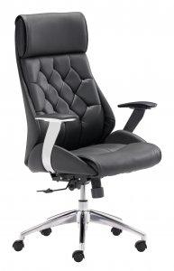 "28.7"" x 29"" x 46.6"" Black, Leatherette, Chromed Steel, Office Chair"
