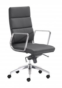 "21"" x 26"" x 42"" Black, Leatherette, Chromed Steel, High Back Office Chair"