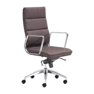 "21"" X 26"" X 44.5"" Espresso Leatherette High Back Office Chair"