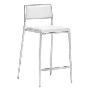 "18"" X 20"" X 36"" 2 Pcs White Leatherette Counter Chair"