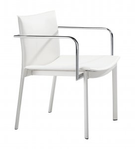 """24"""" x 22"""" x 28"""" White, Leatherette, Chromed Steel, Conference Chair - Set of 2"""