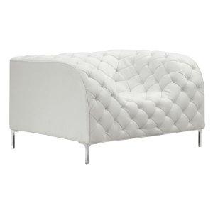 "45.5"" X 36.5"" X 28"" White Leatherette Arm Chair"