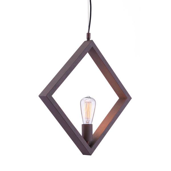 """17.7"""" X 2"""" X 17.7"""" Rust Metal Ceiling Lamp"""