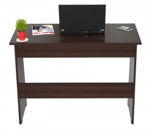 "29.5"" Elegant Espresso Melamine & Engineered Wood Writing Desk with a Storage Area"