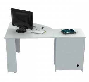 "28.5"" White Melamine and Engineered Wood Corner Computer Desk"