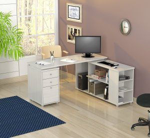 "29.5"" White Melamine and Engineered Wood L-Shaped Computer Desk"