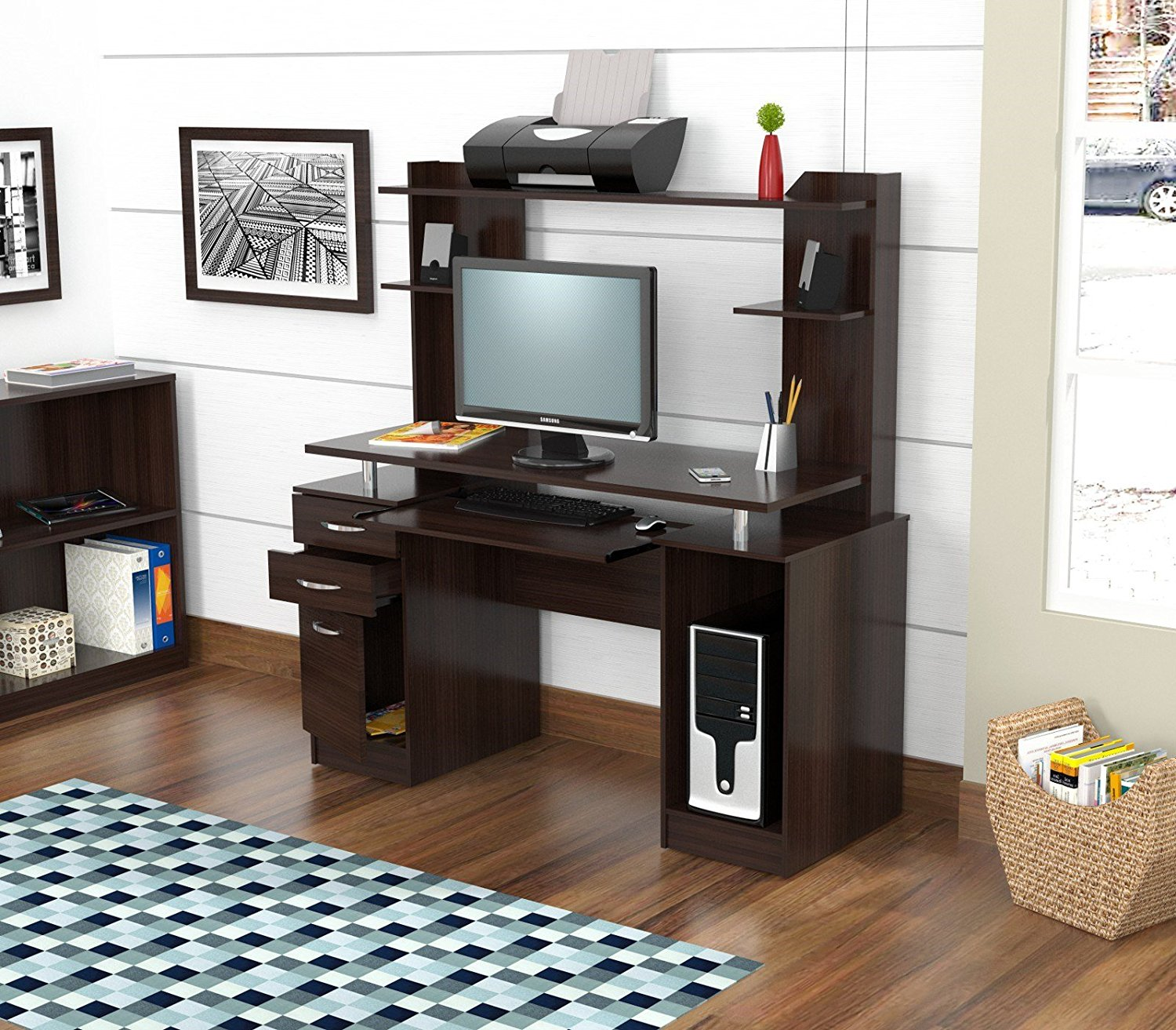 "53.3"" Espresso Melamine and Engineered Wood Computer Desk with Hutch"